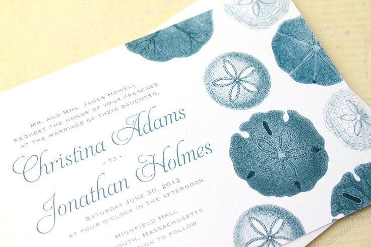 Sand Dollar Beach Wedding Invitation - Sample - in Blue and White. $3.99, via Etsy.