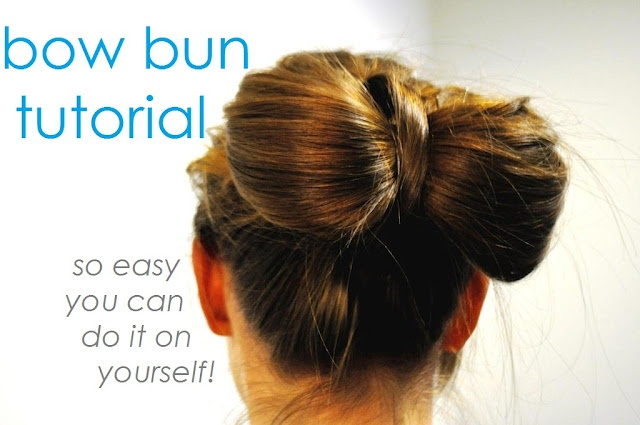 Bow tie me up, as seen on: http://ducksinarowevents.blogspot.com/2012/02/hair-diy-bow-bun-tutorial.html