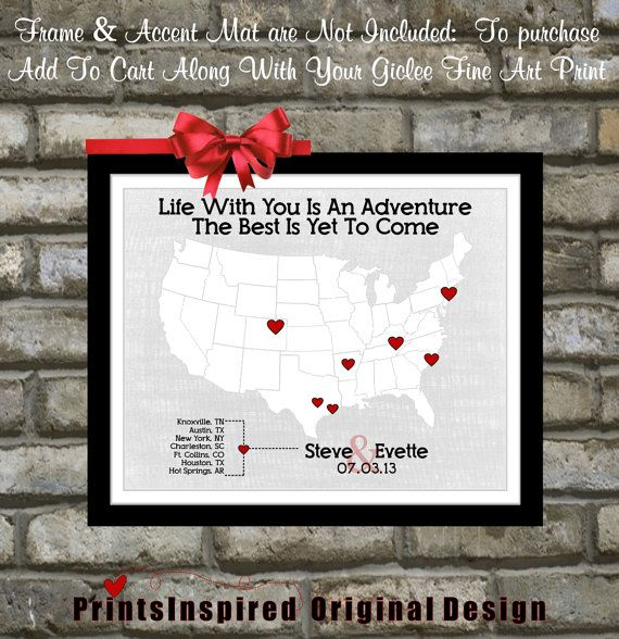 Custom 1st First Wedding Anniversary Gift: For Husband Wife Him Her Couples WhoTravel Map Heart Love Unique Wall Art Gift Ideas 11x14 Print