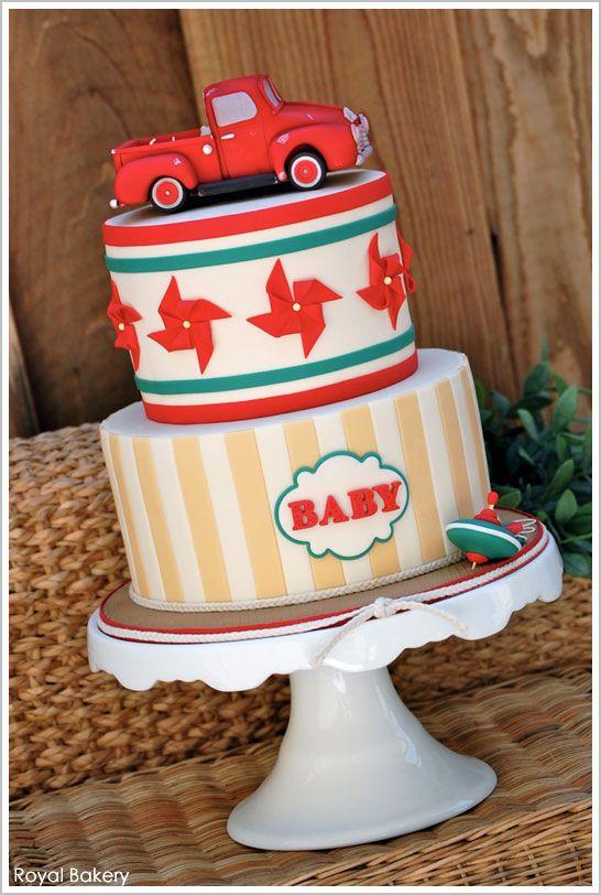 Baby Boy Antique Truck Cake