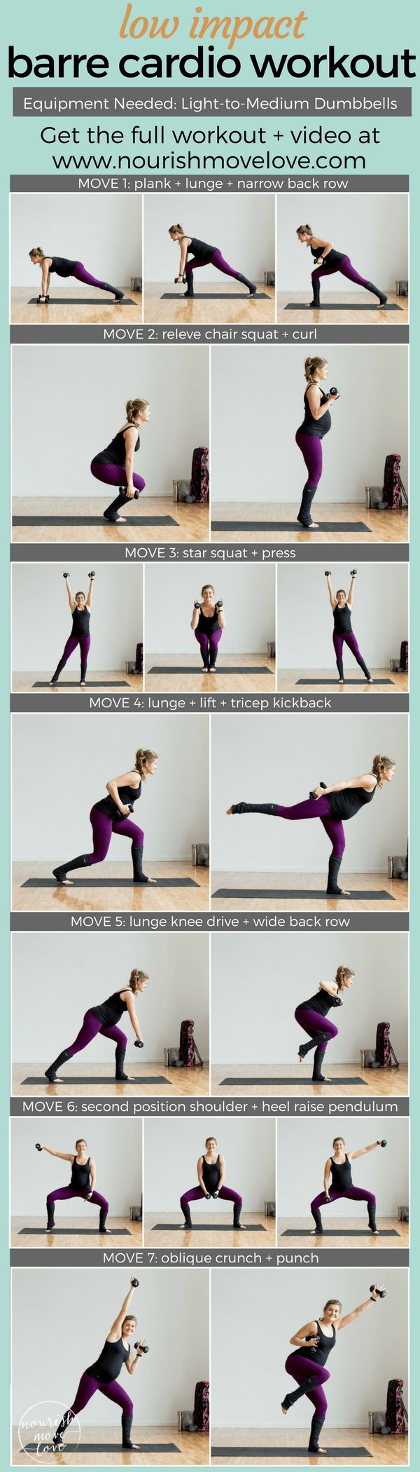 7 barre inspired exercises for a complete at home workout! Use light-to-medium dumbbells for this ballet inspired workout. Burn calories with these low impact but high intensity moves. Great for anyone with bad knees, runners who need an impact break, or for pregnant or new mom's getting back into a workout routine   www.nourishmovelove.com