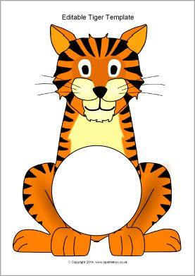 #Kanjertraining  Editable tiger template (SB10312) - SparkleBox prima bruikbaar bij aanpak met kanjertraining. Leuke foto of tekening van kind in buik of een stukje uitleg waarom je een kanjer bent. Zie jet helemaal zitten. Goed idee.