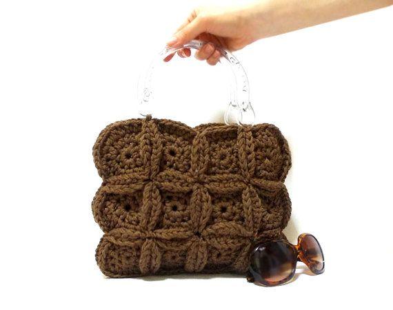 Crochet bag- Handmade tote bag- School bag- Free Shipping- Purse- Brown- Geometric- Circle- 2013 bag trend- Medium handbag- Crochet tote bag