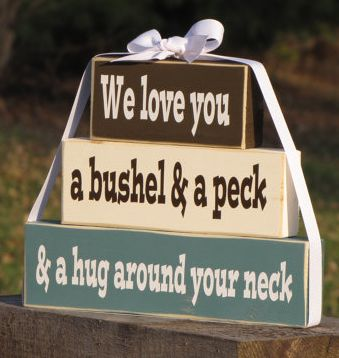 """Valentine's Day Gifts for Mom, Dad, & the Grandparents:  """"We Love You A Bushel & A Peck & A Hug Around Your Neck"""" Artwork Decor by Spang Gan..."""