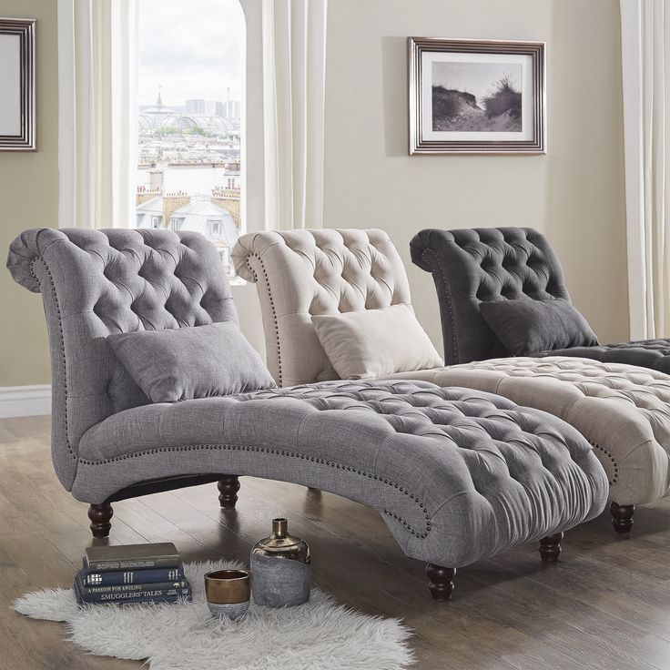 Knightsbridge Tufted Oversized Chaise Lounge by Signal Hills (Dark Grey Linen), Black (Fabric)