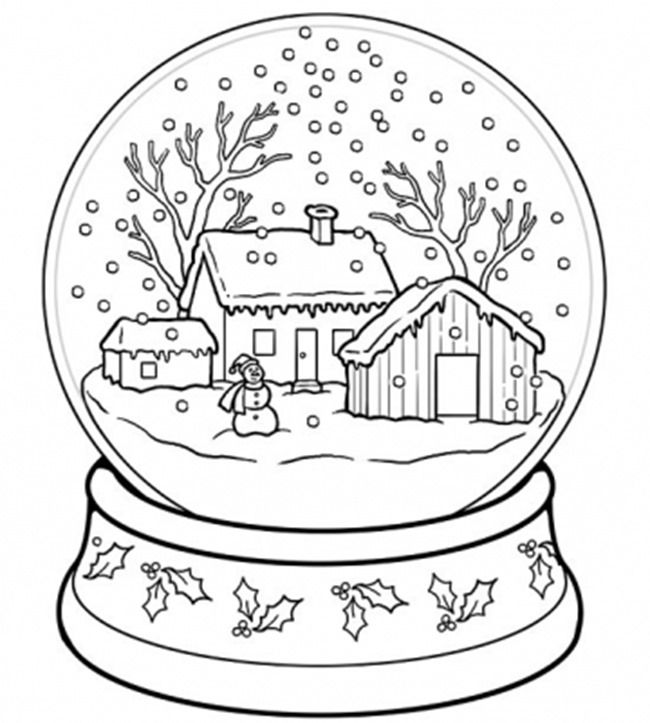 christmas printable coloring page snow globe - Snow Coloring Pages