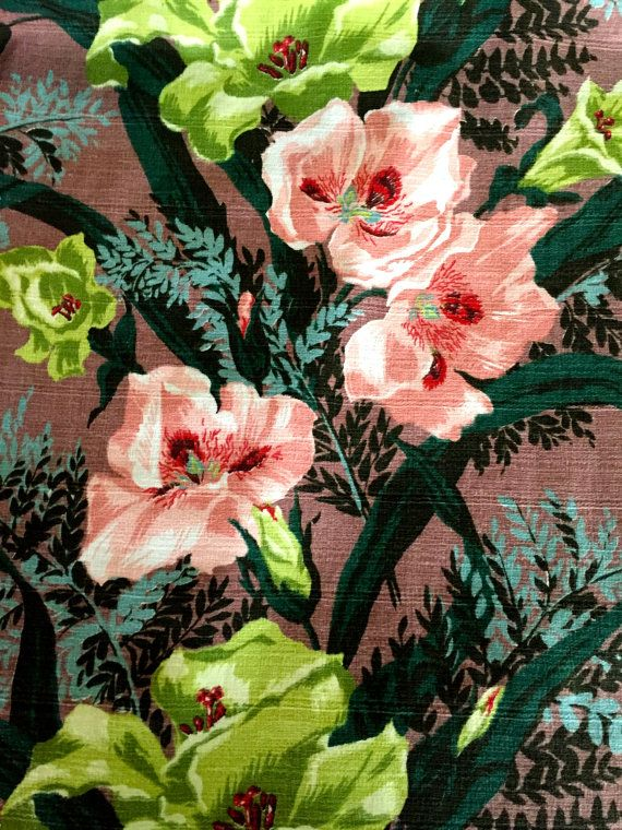 Fab 40s Tropical Barkcloth with Amazing Colors// Mid Century Hollywood Glam Floral Fabric// Cotton Yardage// Upholstery// Drapery// 3 Panels