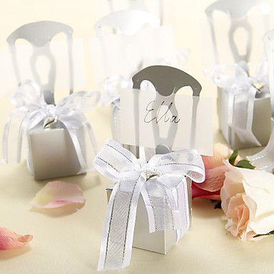 Delicate zilveren stoel dozen snoep en kaarthouder met organza strik - set van 12 - EUR € 3.43