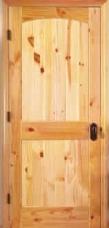 Knotty Pine arched 2 panel door - thinking of replacing all of our doors, trim, and baseboards with something more rustic, like knotty pine.