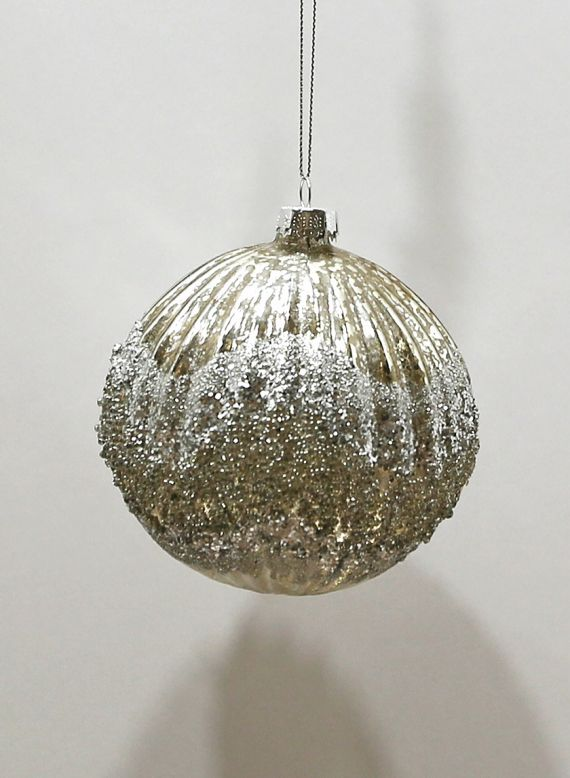 4in Mercury Glass And Glitter Ribbed Glass Ornament Ball Glass Ornaments Christmas Ornaments Ornaments