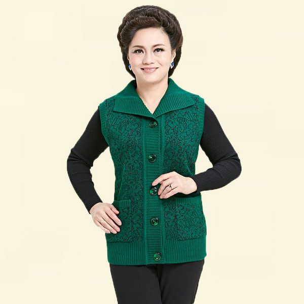 Autumn Mother Grandma's Knitted Vest Brown Dark Red Woolen Cardigans Sweaters Sleevless Knitwear Classical Mother's Vests Female