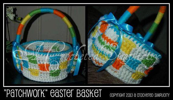 Crochet Pattern Patchwork Easter Basket by ACrochetedSimplicity, $5.00