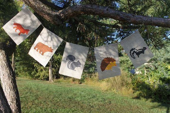 Woodland Animal Banner, Nursery banner, classroom decor, fox, bear, squirrel, hedgehog, skunk, woodland - Made to Order
