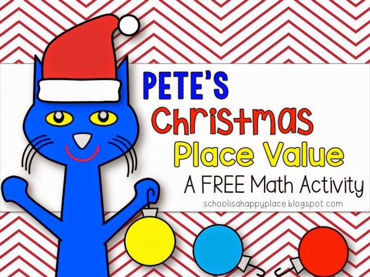 FREE Christmas Pete the Cat themed place value center or scoot activity