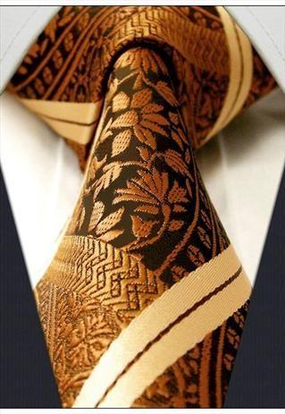 Bronze Gold Paisley Silk Mens Tie
