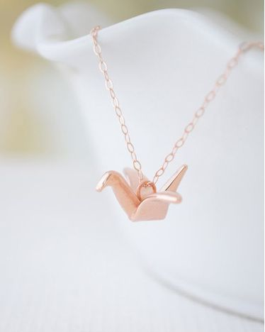 Rose Gold Origami Crane Necklace - JewelMint