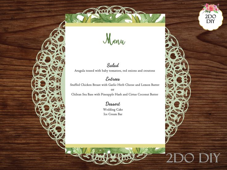 Printable Menu Template / Palm Branch Menu / Tropical / Palm Leaves Dinner Menu / Print at Home Menu Cards /Instant Download / MS Word by 2DoDIY on Etsy https://www.etsy.com/listing/489512371/printable-menu-template-palm-branch-menu
