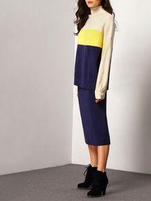 Раздельное контрастное платье-свитер. юбка с разрезом. воротник-хомут