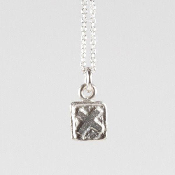 X Tile Pendant - Silver | DARKBLACK $175 NZD