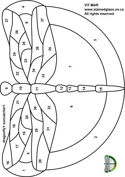 Трафареты, эскизы и шаблоны витражей - Искусство цветного стекла Vit-Mar - Стрекоза