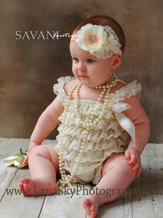 Baby lace romper,2 pieces Ivory peach  lace romper set. Lace Petti Romper and  headband, Baby Girl Photo Prop on Etsy, $28.99
