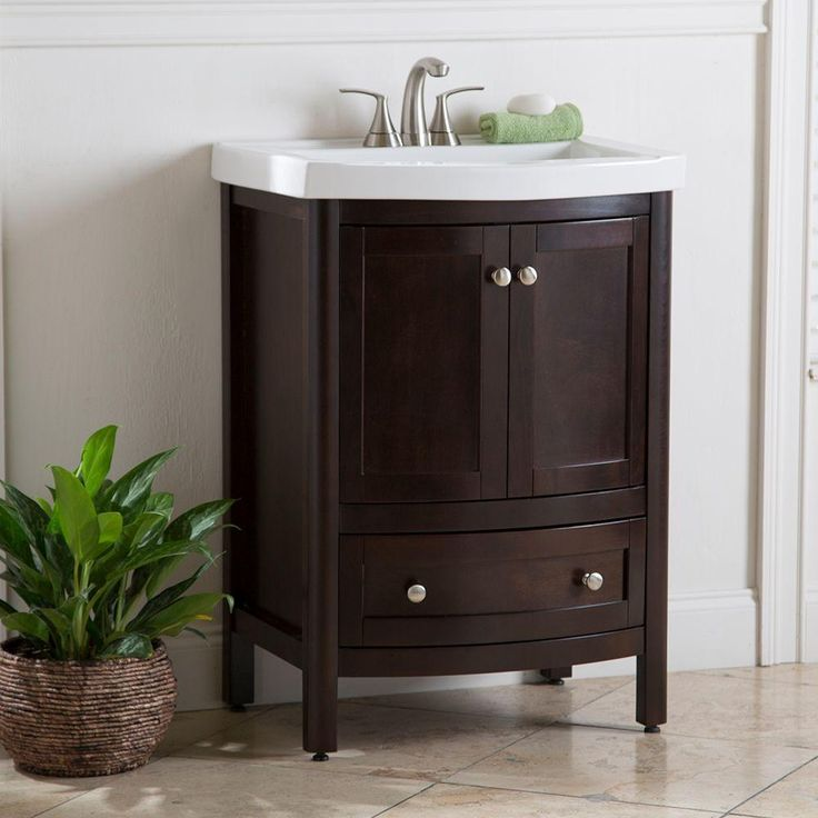 Winslow 24 In Vanity In Chocolate With Porcelain Vanity Top In White Wn24bdp2 Ch The Home