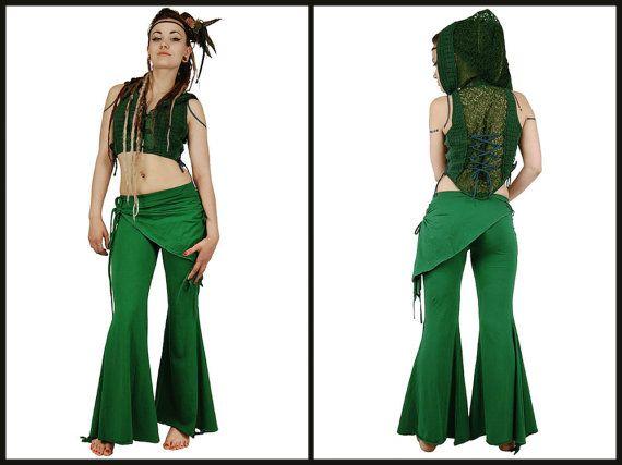 Pantalon de fée vert foret bas des jambes évasée par BaliWoodShop