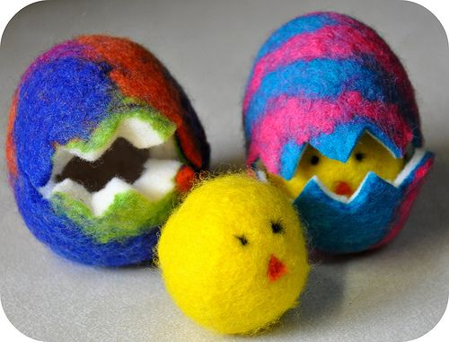 Wet-felted eggs and chicks