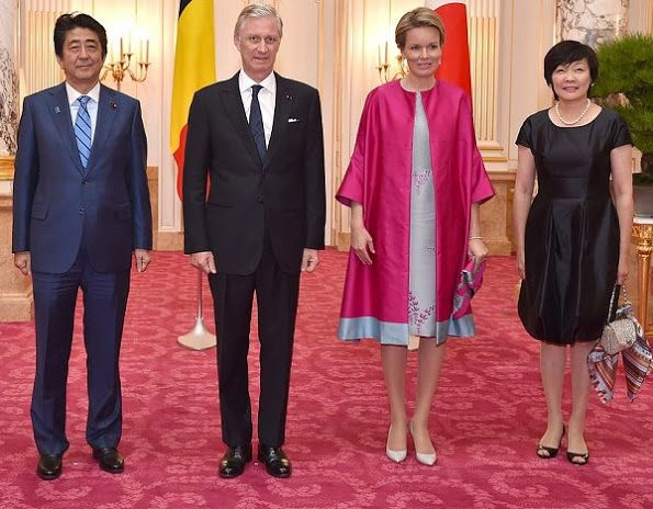 On October 12, 2016, Japanese Prime Minister Shinzo Abe and his wife Akie Abe, King Philippe and Queen Mathilde of Belgium attend a meeting at the Akasaka Guest House, on the third day of a state visit to Japan of the Belgian Royals in Tokyo, Japan.