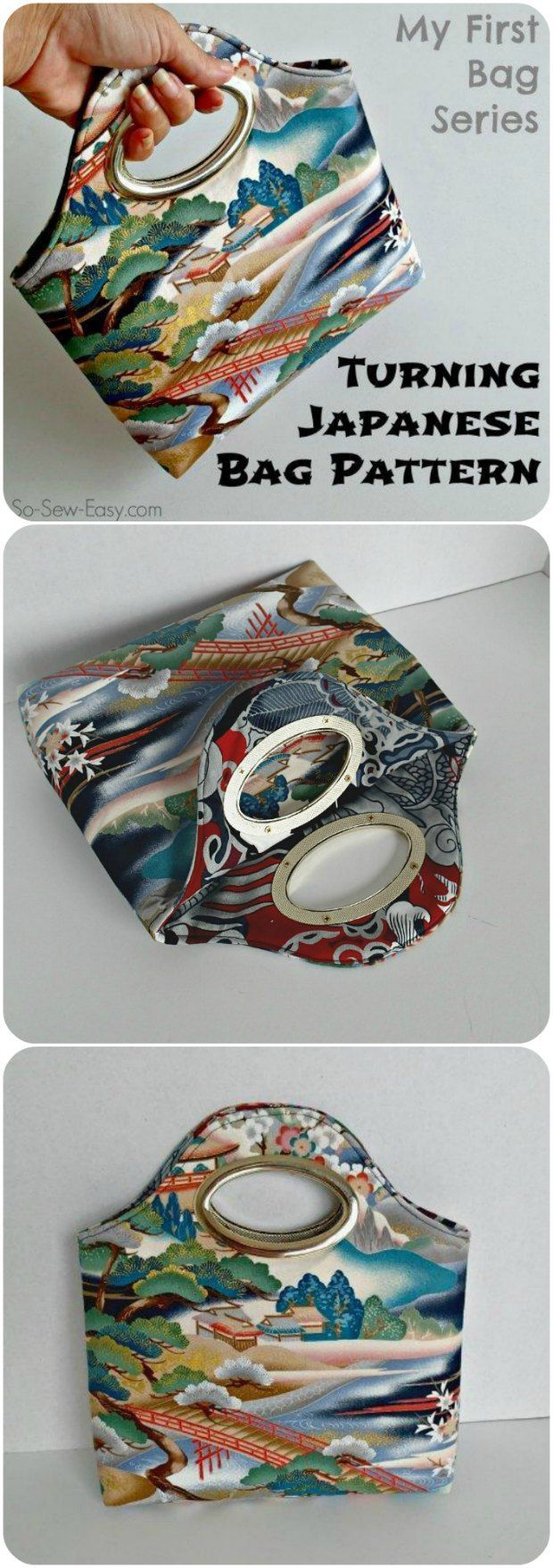 One of my favorite free bag sewing patterns.  No difficult closures, easy to sew and yet those handles make it look really good.  I taught a neighbour to sew using this pattern.  Great for your first bag.