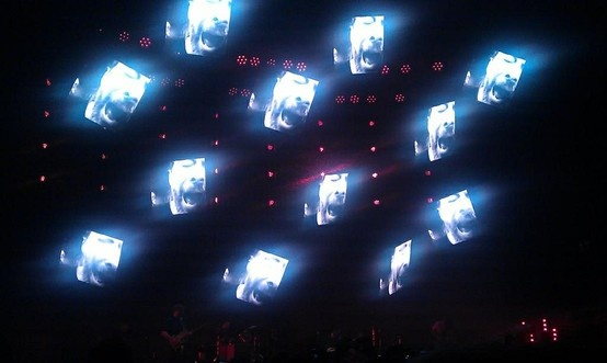 Radiohead's Thom Yorke on 12 screens during Radiohead's TKOL tour in the Ziggo Dome, Amsterdam on October 14th 2012