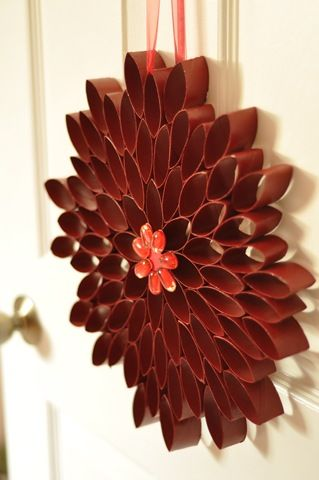 Easy wreath, I would love to do one and use a bright color on it, this reminds me of a Dahlia.