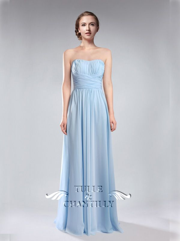 sky blue wedding color ideas - floor length sweetheart light sky blue bridesmaid dresses