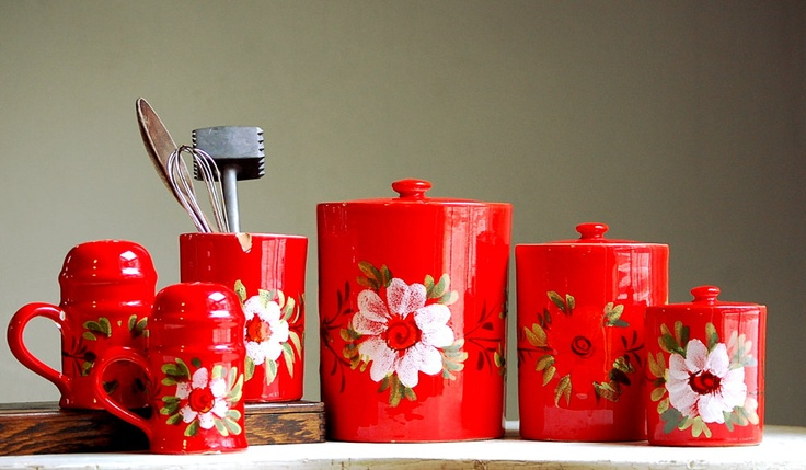 Vintage Italian Kitchen Canisters - Kitchen Storage - Bold Red Kitchen Canisters. $38.00, via Etsy.