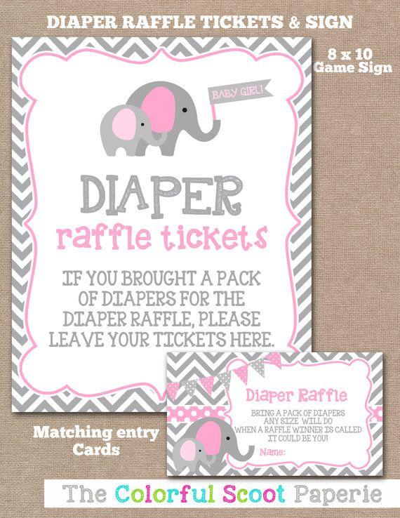 INSTANT DOWNLOAD, Elephant Diaper Raffle Ticket Sign, Diaper Raffle Tickets, Baby Shower Signs, Elephant, Girl, Pink, Grey (#536)