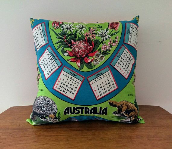 Vintage Cotton Cushion Cover: 1977 Australian Calendar 40th