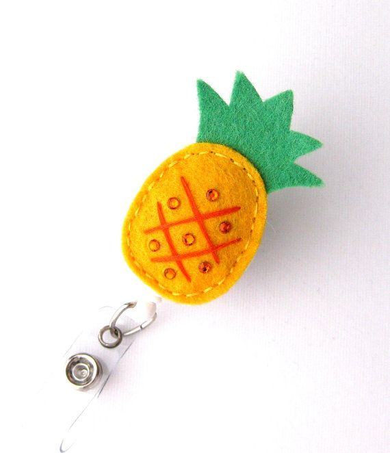 Pineapple  Tropical Name Badge Holder Felt Badge Clips Cute Badge Reels by BadgeBlooms, $6.00