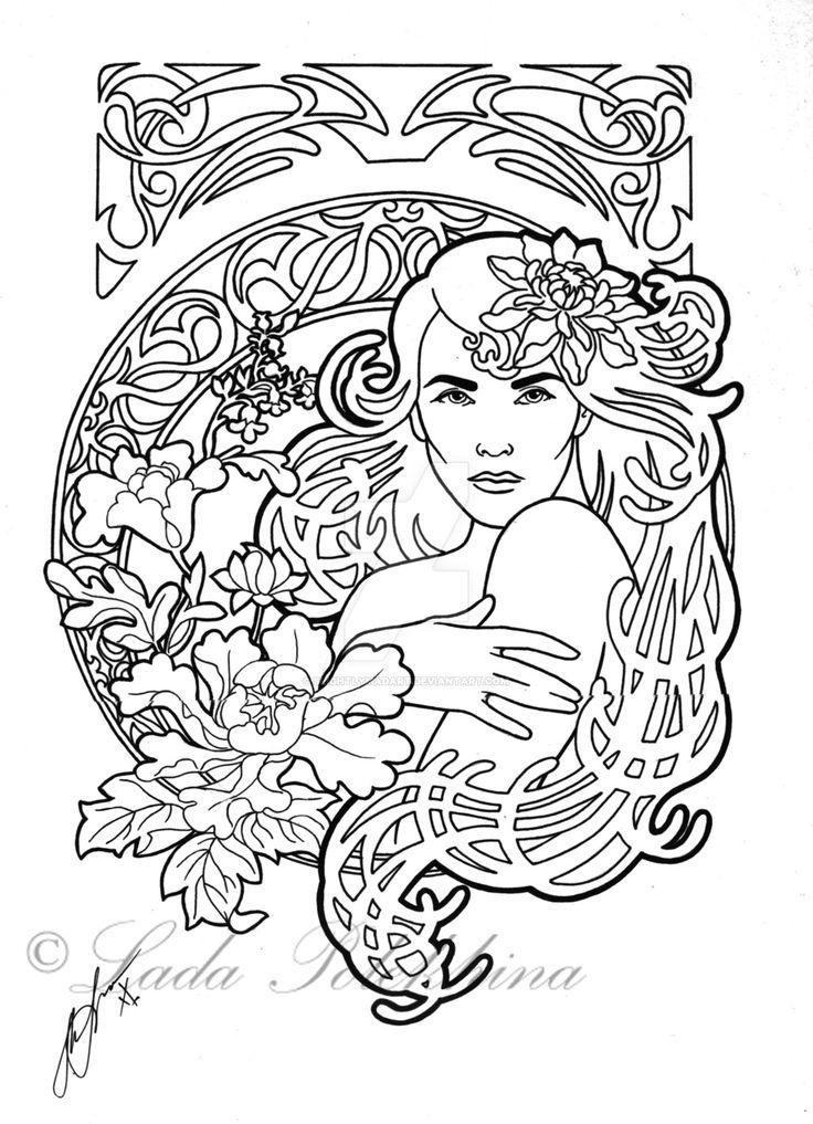 art nouveau coloring pages - 190 best images about art nouveau coloring pages on