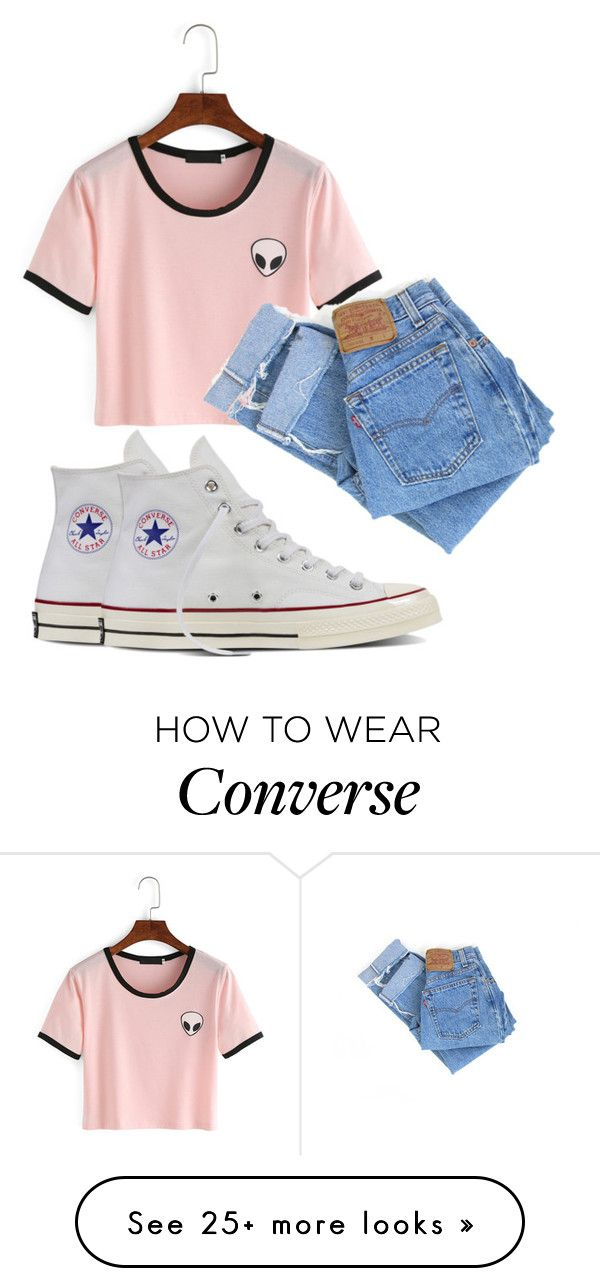 """"""":)"""" by madihahnas on Polyvore featuring Levi's and Converse"""