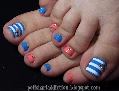 coral & blue toes:  Orly Snow cone, the Balm Coral Reef-ined, and Kiss Nail Art Striper in white. A mix of rhinestones