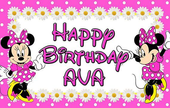 Minnie Mouse Personalized Custom Printed Birthday Backdrop Banner