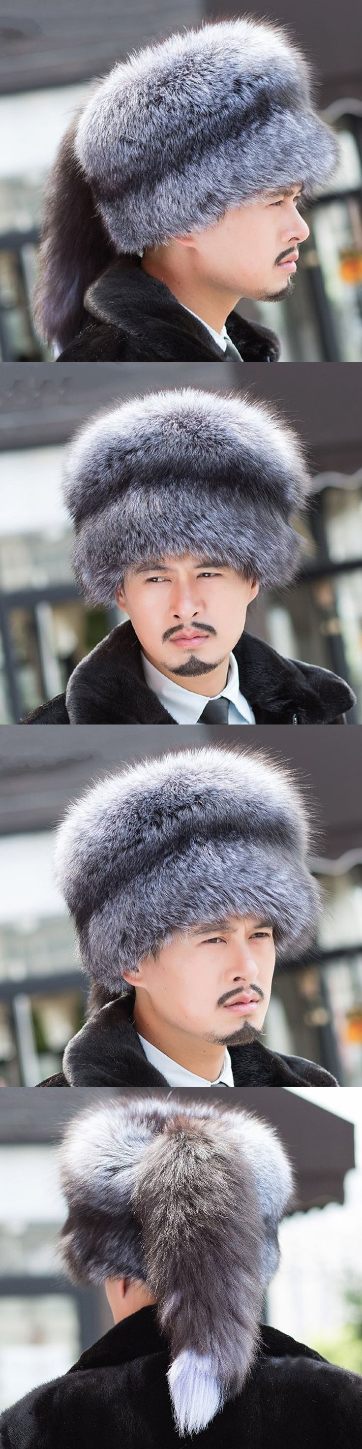 2017 fashion Russian Mongolian 100% real natural silver fox fox hat with lady fox tail tail winter soft hat hairy