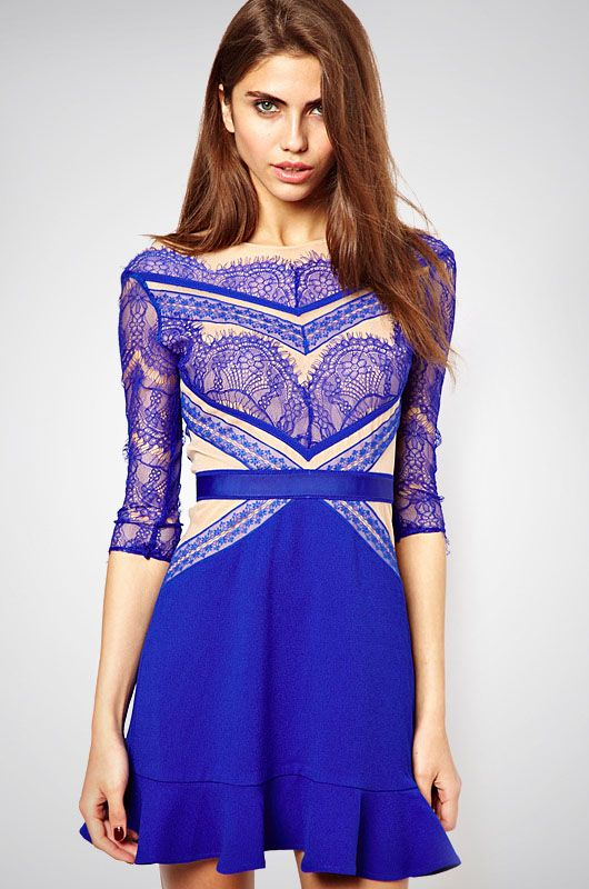 Blue Eyelash Lace Party Dress