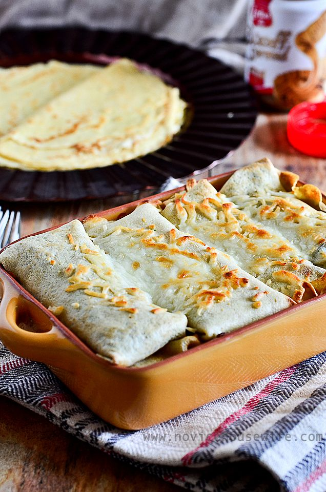Savory Spinach Mushroom filled Whole Wheat Crepes