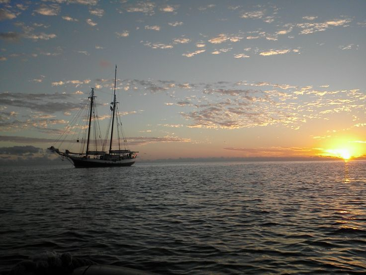 Even the view from the beach to the boat is spectacular! Perfect way to end the afternoon at Norman's Cay!  #tallships #LibertyClipper #Bahamas #sunset #sailing #sailingvacations #BahamasCruise
