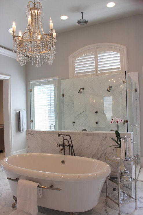 Talbot Cooley Interiors - bathrooms - white and gray bathroom, en suite bath, en suite bathroom, crustal chandelier chandelier in bathrooms,...