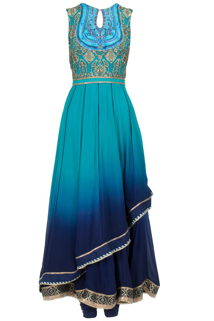 Turquoise to midnight blue ombre asymmetric layered anarkali set