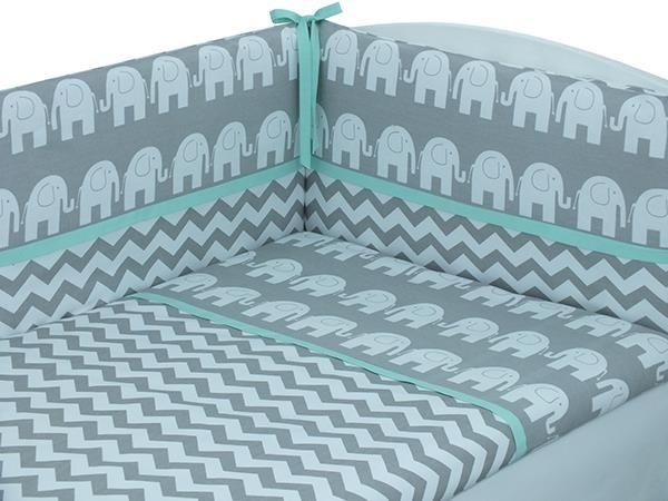 SAMBABY Dětské povlečení do postýlky 3.díl BASIC Slon šedé se zelenou