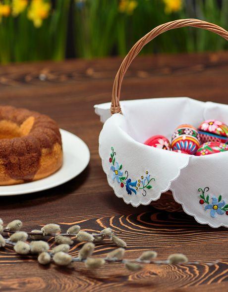serwetka do koszyczka wielkanocnego kaszubska folkstar ręcznie haftowana sztuka ludowa folklor polski (napkin basket for Easter)