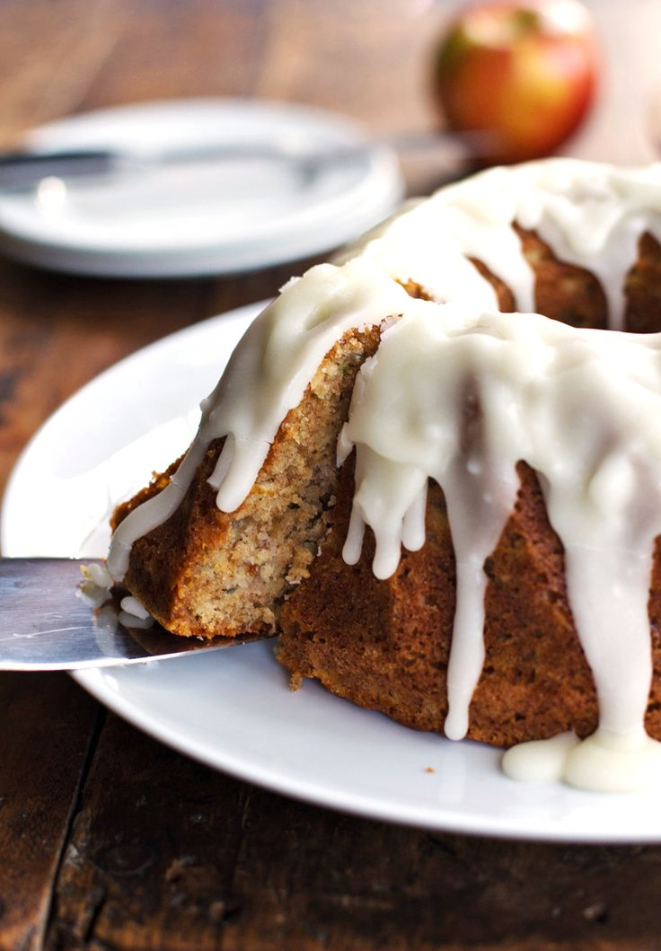 Whole Wheat Honey Apple Bundt Cake - chock full of sweet apples and covered with the best glaze of all time. | pinchofyum.com